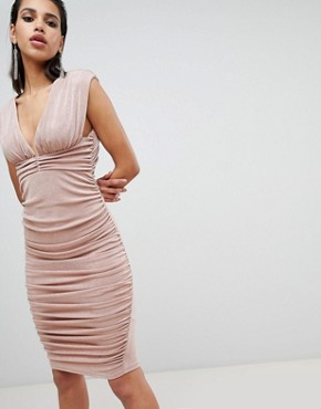 photo Slinky Super Ruched Low Back Midi Dress by ASOS DESIGN, color Nude - Image 1