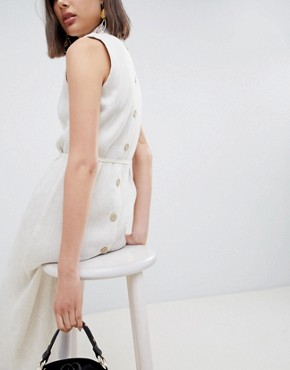 photo Pleated Midaxi Dress with Tie Detail by ASOS WHITE, color Cream - Image 2