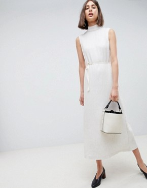 photo Pleated Midaxi Dress with Tie Detail by ASOS WHITE, color Cream - Image 1