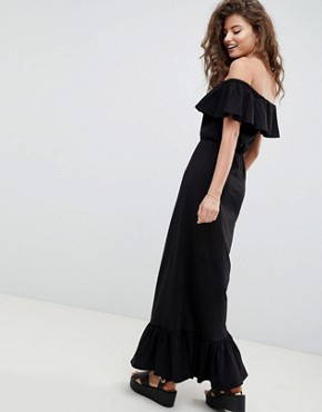 photo Off Shoulder Maxi Sundress with Tiered Skirt by ASOS DESIGN, color Black - Image 2