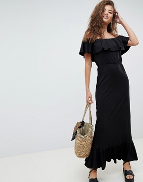 photo Off Shoulder Maxi Sundress with Tiered Skirt by ASOS DESIGN, color Black - Image 1