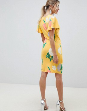 photo Wrap Front Mini Dress with Angel Sleeve in Floral Print by ASOS DESIGN, color Floral Print - Image 2