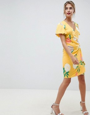 photo Wrap Front Mini Dress with Angel Sleeve in Floral Print by ASOS DESIGN, color Floral Print - Image 1