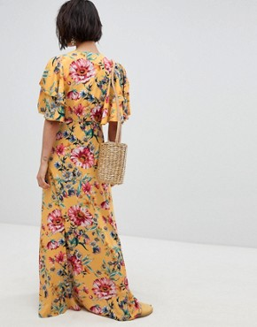 photo Floral Maxi Dress with Frill Sleeve by Vero Moda, color Yellow - Image 2