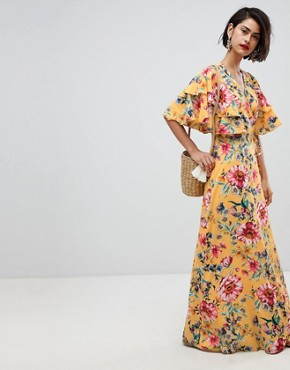 photo Floral Maxi Dress with Frill Sleeve by Vero Moda, color Yellow - Image 1