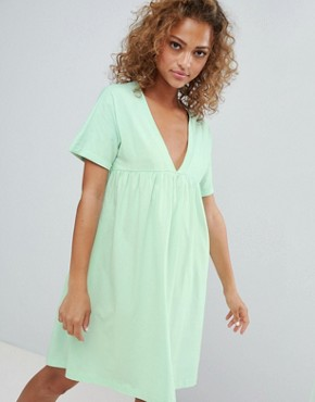 photo Cotton Smock Dress by ASOS DESIGN Ultimate, color Mint - Image 1
