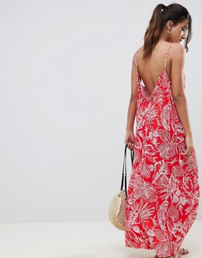 photo Gathered Maxi Dress in Palm Print by ASOS DESIGN, color Palm Print - Image 2