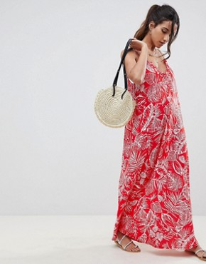 photo Gathered Maxi Dress in Palm Print by ASOS DESIGN, color Palm Print - Image 1