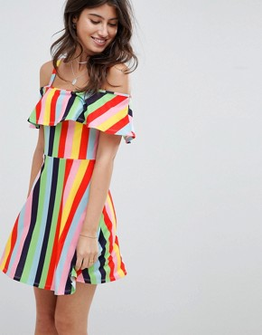 photo Rainbow Stripe Skater Sundress with Frill Layer by ASOS DESIGN, color Rainbow Stripe - Image 1