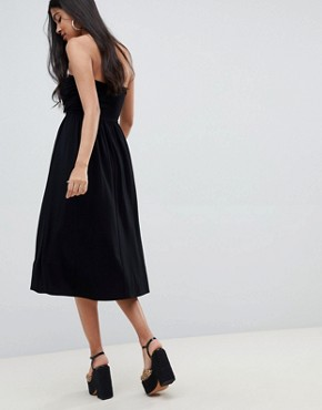 photo Midi Sundress with Tie Front by ASOS DESIGN, color Black - Image 2