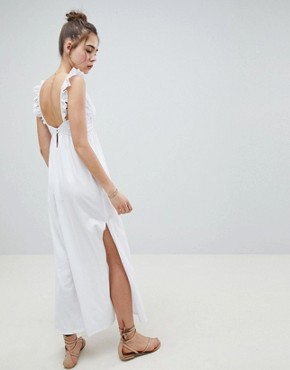 photo Maxi Sundress with Broderie Top by ASOS DESIGN, color White - Image 2
