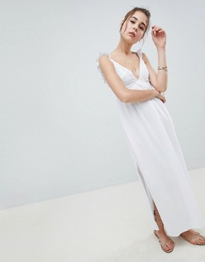 photo Maxi Sundress with Broderie Top by ASOS DESIGN, color White - Image 1