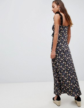 photo Maxi Dress in Ditsy Print with Ladder Trim by ASOS DESIGN, color Ditsy Print - Image 2