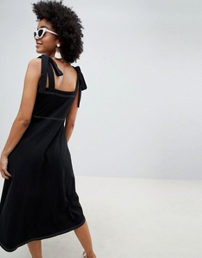 photo Button Through Contrast Stitch Midi Pinafore Sundress by ASOS DESIGN, color Black - Image 2