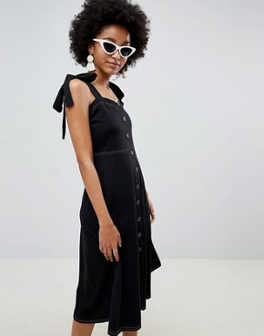 photo Button Through Contrast Stitch Midi Pinafore Sundress by ASOS DESIGN, color Black - Image 1