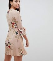 photo Frill Sleeve Floral Swing Dress by AX Paris, color Beige - Image 2