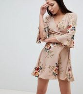 photo Frill Sleeve Floral Swing Dress by AX Paris, color Beige - Image 1
