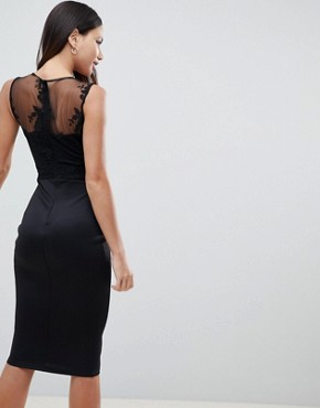 photo Midi Bodycon Dress with Mesh Overlay by AX Paris, color Black - Image 2