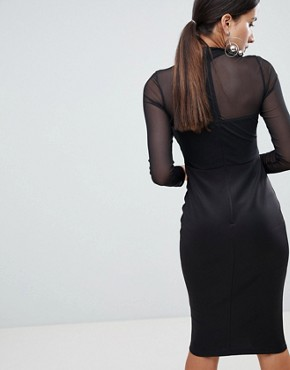 photo Long Sleeve Bodycon Dress with Contrast Lace Detail by AX Paris, color Black - Image 2