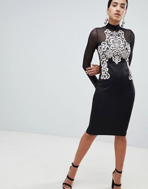 photo Long Sleeve Bodycon Dress with Contrast Lace Detail by AX Paris, color Black - Image 1