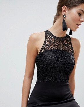photo Racerneck Lace Midi Dress by AX Paris, color Black - Image 1