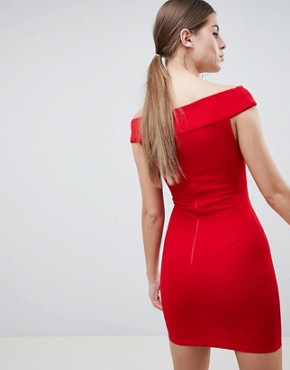 photo Bardot Cross Front Bodycon Dress by AX Paris, color Red - Image 2