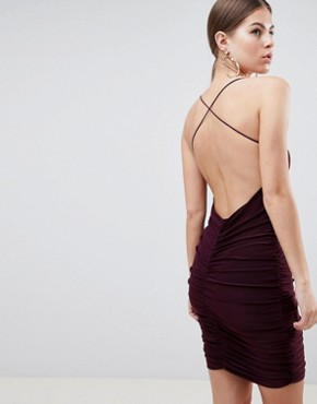 photo Sqaure Neck Mini Dress by AX Paris, color Plum - Image 2