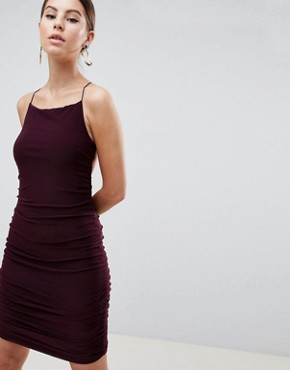 photo Sqaure Neck Mini Dress by AX Paris, color Plum - Image 1