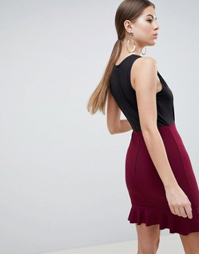 photo 2-in-1 Dress with Frill Hem by AX Paris, color Black/Plum - Image 2