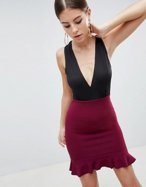 photo 2-in-1 Dress with Frill Hem by AX Paris, color Black/Plum - Image 1