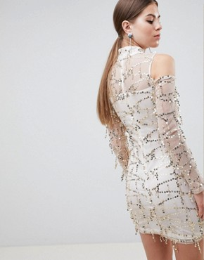 photo High Neck Long Sleeve Dress with All Over Embellishement by AX Paris, color Champ - Image 2
