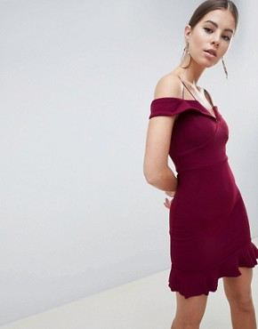 photo Off Shoulder Fitted Dress with Frill Hem by AX Paris, color Plum - Image 1