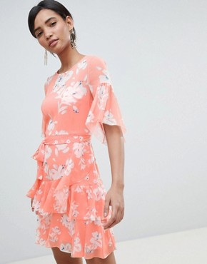 photo Floral Flippy Dress by French Connection, color Peach Blossom - Image 1