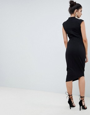 photo Midi Pencil Dress with Tuck Detail by ASOS DESIGN, color Black - Image 2
