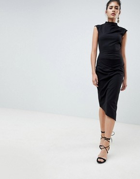 photo Midi Pencil Dress with Tuck Detail by ASOS DESIGN, color Black - Image 1