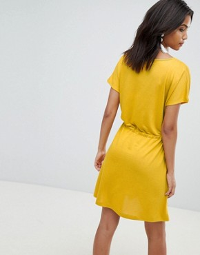 photo Jersey Tie Detail Dress by French Connection, color Yellow - Image 2