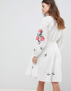 photo Embroidered Smock Dress by French Connection, color Summer White - Image 2