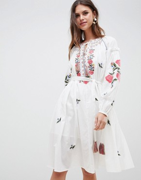 photo Embroidered Smock Dress by French Connection, color Summer White - Image 1
