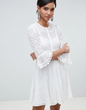 photo Broderie Mini Dress by French Connection, color Summer White - Image 1