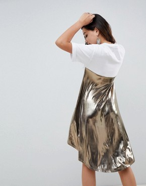 photo t-shirt Dress with Metallic Dip Back by ASOS DESIGN, color Multi - Image 2