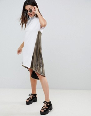 photo t-shirt Dress with Metallic Dip Back by ASOS DESIGN, color Multi - Image 1
