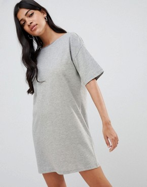 photo t-shirt Dress with Rose Embroidery by ASOS DESIGN, color Grey Marl - Image 2
