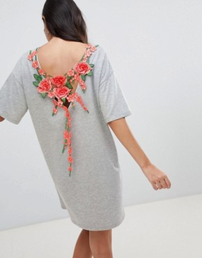 photo t-shirt Dress with Rose Embroidery by ASOS DESIGN, color Grey Marl - Image 1