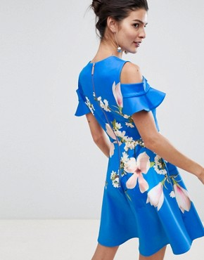photo Cold Shoulder Skater Dress in Harmony Floral by Ted Baker, color Bright Blue - Image 2