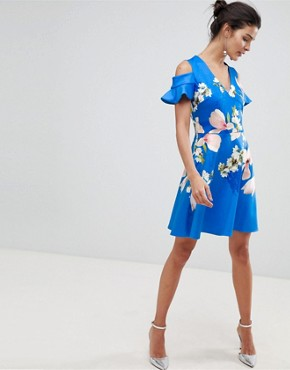 photo Cold Shoulder Skater Dress in Harmony Floral by Ted Baker, color Bright Blue - Image 1