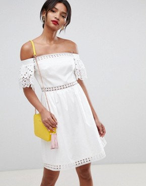 photo Geo Lace Cotton Midi Dress by Ted Baker, color White - Image 1