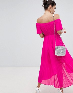 photo Pleated Dip Hem Maxi Dress by Ted Baker, color Neon Pink - Image 2
