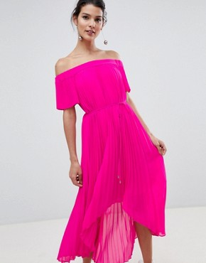 photo Pleated Dip Hem Maxi Dress by Ted Baker, color Neon Pink - Image 1