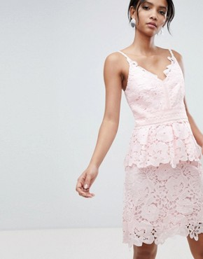 photo Lace Peplum Dress by Ted Baker, color Pale Pink - Image 1