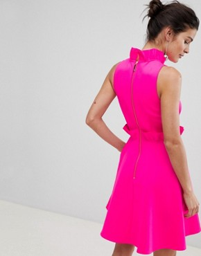 photo Ruffle Waist Skater Dress by Ted Baker, color Neon Pink - Image 2
